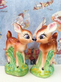 Very Rare Vintage Bambi and Falina Kissing Deer Salt by MoonFaces