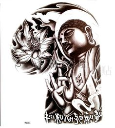 Tattoo A large male models half Lotus Buddha Buddha tattoo sticker waterproof tattoo stickers D023 $19.90