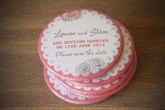 Save the date 58mm magnet_CORAL PRETTY BOW