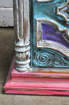 Bohemian side table storage table heavily by BlackSheepMill, $215.00 Handmade item Materials: Solid wood, antique white paint, Chalk paint, Stain, Upcycled, Paint, Red paint, upcycled furniture, Recycled, tea stain, recycled furniture, turquoise paint, Black paint