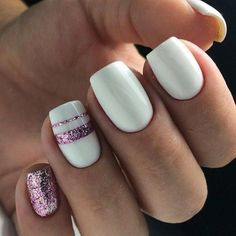 White Pink Glitter Accent Nail Short Square Fingernails Matte Shiny Acrylic Coffin Long Nail Ideas Manicure French tip Square shaped long nails cute summer fall spring fingernails gel nails shellac acrylicnails fingernaildesigns nailart nailart Manicure French, Manicure Gel, Manicure Ideas, Nail Ideas, Nail Art Designs, Acrylic Nail Designs, Nails Design, Gel Nails At Home, My Nails