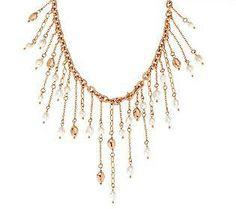 Honora Cultured Pearl Bronze Bib Statement Necklace