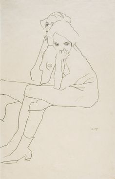 EGON SCHIELE, TWO SEATED WOMEN, 1911 Pencil on paper, 559 x 371 mm ZWEI SITZENDE, 1911, Bleistift auf Papier, 559 x 371 mm This 1911 study of two seated female nudes was drawn at a time when Egon Schiele had achieved artistic maturity and found his personal style after his first schoolboyish experiments and the influence of Secessio-nism in his early work. The concentration on the linear outline against an empty, spaceless background of course has echoes of the tremendous influen