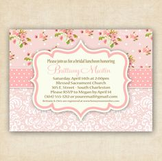 Pink Shabby Chic Floral and Damask - Baby Shower Invitation - Printable - DIY - 4x6 or 5x7. $13.00, via Etsy.