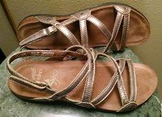 Dansko-Jovie-Leather-Sandals-Metallic-Pewter-sz-37-US-6-5-7
