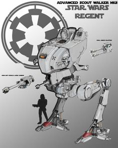 """Finished version of the advanced scout walker. Armed with a single medium laser cannon and blaster cannons it also comes with an anti """"Ewok"""" grenade. AT ST mkII Rpg Star Wars, Nave Star Wars, Star Wars Ships, Star Wars Concept Art, Star Wars Fan Art, V Wings, Imperial Walker, Star Wars Spaceships, Star Wars Vehicles"""