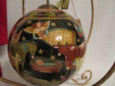 "Stunning, Vintage Ne Qwa Art - Christmas Ornament - ""Manger"""