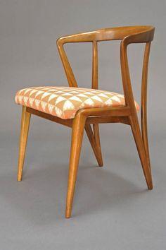 Bertha Schaeffer; Walnut Dining Chair for Singer & Sons, 1950s.