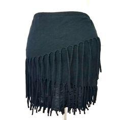 6e02b7d25f2 Chelsea Violet Fringed Mini Skirt Sz XS Black Asymmetrical Tiers Stretch  Knit  ChelseaViolet  Tiered  mini  skirt  boho  bohostyle  festivalfashion