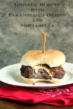 Grilled Burger with Caramelized Onions, Mozzarella and Bacon   Cravings of a Lunatic   #baconmonth #bacon #baconallthethings
