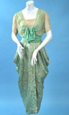 """Ca. 1914 """"hobble skirt"""" evening dress"""