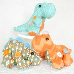 "These dinos stand about 7"" high and would be adorable in a little boy's room! (click on photos to enlarge)"