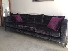Bespoke Mapperley sofa 250 cm x 91 cm with 12 cm wide arms & reduced base height by 7 cm.  3 foam base cushions and 3 x fibre button back cushions.  The sofa is in J Brown  Modena 13996 midnight /scatters in 13113 aubergine.  15 cm chrome legs.