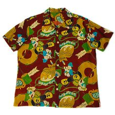 Aloha Shirts made from Vintage Japanese children's KIMONO.  Many boys are playing musical instrument.