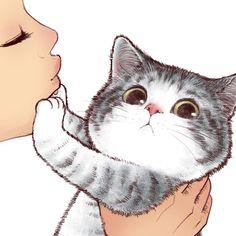 Kiss Cute Cat 3 Art Print by selenaml Cute Cat Drawing, Cute Drawings, I Love Cats, Cute Cats, Cute Cat Illustration, Cat Illustrations, Cute Cat Wallpaper, Pitbull Wallpaper, Drawing Wallpaper