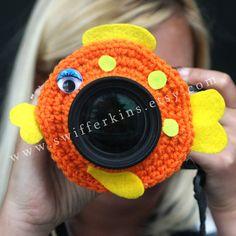 Camera lens buddy. Crochet lens critter by KikisKreationsprops