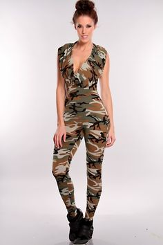 d850c533b64a Olive Multi Camouflage Jumpsuit Outfit   Sexy Clubwear