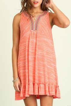 Embroidered coral dress with lace detail on the back.  Coral Lace Dress by Umgee USA. Clothing - Dresses California