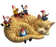 Outdoor Garden Gnomes Picnic Sleeping Cat Statue | Home
