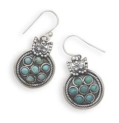 Oxidized Turquoise French Wire Earrings
