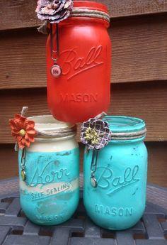Set of 3 painted mason jars
