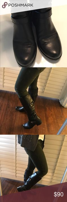 Black Boots. Narrow calf black boots with little gold detailing. Boots are in amazing condition, practically new. Wore it a handful of times, it's a little small on me. Open to reasonable offers. Willing to put up more pictures if needed. Alfani Shoes