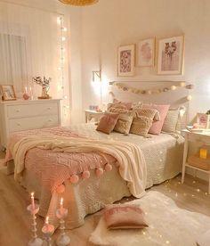 Bedroom Decor For Teen Girls, Cute Bedroom Ideas, Cute Room Decor, Girl Bedroom Designs, Room Ideas Bedroom, Girl Bedrooms, Bedroom Styles, Teen Bedroom, Master Bedroom