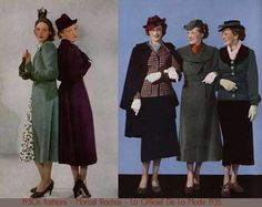 Ladies tailored skirt suits 1930's.
