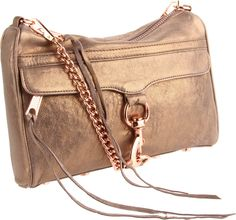 Rebecca Minkoff Metallic Mini Mac Clutch.  Just scored this beaut on sale AND it has rose gold hardware!!!