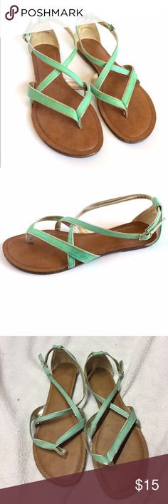 Teal Strapy Sandals Barely worn super cute to complete your spring outfit! Most reasonable offers accepted, or I love to bundle so check out the rest of my closet! Merona Shoes Sandals