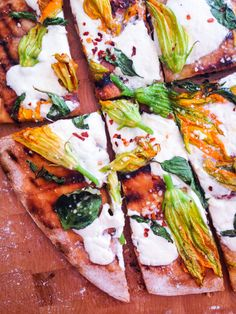 Grilled Pizza with Squash Blossoms and Burrata