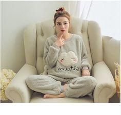 Women Warm Funny Pajamas Full length Sleep Set 4066b0cdc
