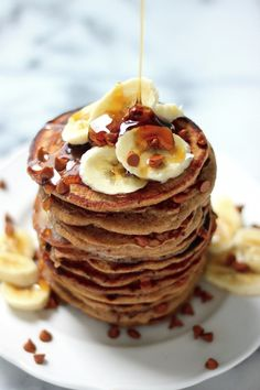 Whole Wheat Cinnamon Chip Banana Bread Pancakes from @BakerbyNature
