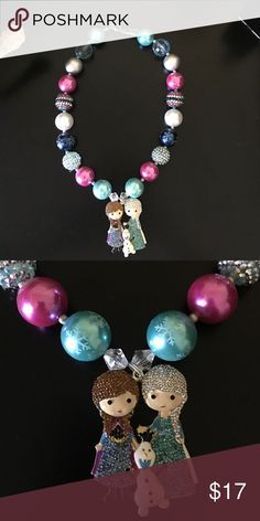 Frozen chunky bubblegum necklace Handmade, high quality frozen chunky bubblegum necklace. Simply pair with your little cuties outfit or as a prop for a photo shoot! Frozen Jewelry Necklaces