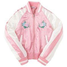 刺繍スカジャン フラワー ❤ liked on Polyvore featuring outerwear, jackets, coats & jackets, spinns and pink jacket