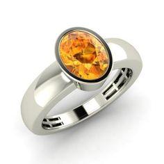 Oval-Cut Citrine Men's Ring in 14k White Gold