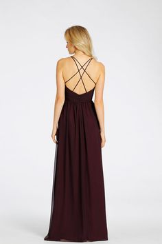 Eggplant chiffon over Burgundy lining A-line bridesmaid gown. Draped bodice with sweetheart neckline, double spaghetti straps that crisscross at back Bridesmaids Dresses: Junior, Maternity & Flower Girl Dresses by Jim Hjelm Occasions - Bridesmaids and Special Occasion Style jh5526 by JLM Couture, Inc.