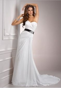 White Azalea/ Chiffon strapless sweetheart column simple wedding dress// (not a black ribbon)