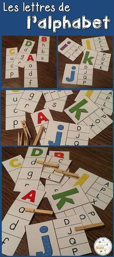 L'alphabet - majuscules/minuscules. 2 jeux d'association. Associer les lettres… Kindergarten Reading Activities, Montessori Activities, Kindergarten Literacy, Preschool Worksheets, Infant Activities, Learning Letters, Learning Games, Kids Learning, French Alphabet