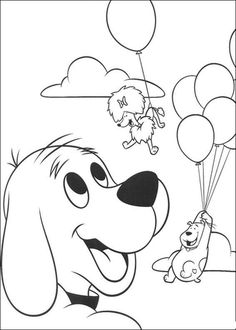 Clifford Wants To Fly With Balloon Coloring Page