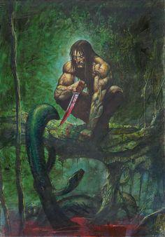 Tarzan of The Apes vs. Simon Bisley, Fantasy Movies, Fantasy Characters, Dark Fantasy, Comic Books Art, Comic Art, Boris Vallejo, Tarzan Of The Apes, Conan The Barbarian