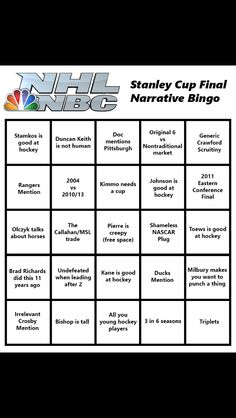 "2015 Stanley Cup Bingo!!! ..missing the ""Harvard Man"" reference for the Lightning."