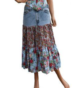 Size 12 Skirt  Upcycled Denim Skirt  Dark Blue Denim  Multi-Color Cotton  Pleats  OOAK Women/'s 36 Waist