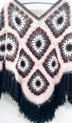 Granny Square Poncho Bohemian style by ShannyCafeCrochet on Etsy