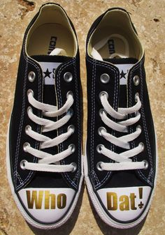 Custom New Orleans Saints Who Dat! Chuck Taylor Converse All Stars shoes (by KayBellissima, via Etsy)