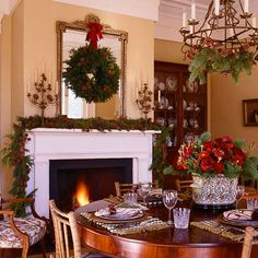christmas wreaths above the mantel | the holiday season online at traditional home notice the way they ...