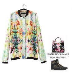 2014 Spring Summer New Fashion Regular Full Sleeve O-neck Zipper Tropical Print PocketsThin Womens Coats Jackets Free Shipping Now only $19.90