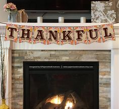 Thanksgiving Banner  Thankful  Printable  Instant Download