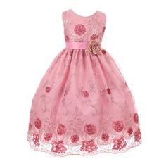 Little Girls Pink Mauve Sequin Floral Adorned Satin Sash Flower Girl Dress 2-6