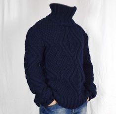 Hand Knitted 100% WOOL Pullover Men Sweater Turtleneck SOFT   Etsy Gros Pull Long, Jumper, Men Sweater, Wool Yarn, Turtleneck, Hand Knitting, Pullover, Strands, Model